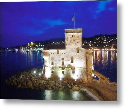 Castle Of Rapallo At Night Metal Print