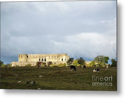 Metal Print featuring the photograph Castle Ruin In Spotlight by Kennerth and Birgitta Kullman