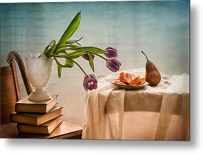 Casual Morning With Tulips, Orange And Pear Metal Print by Maggie Terlecki