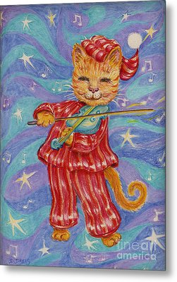 Metal Print featuring the drawing Cat And A Fiddle by Dee Davis