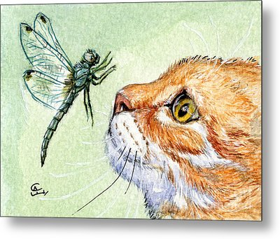 Cat And Dragonfly  Metal Print by Svetlana Ledneva-Schukina
