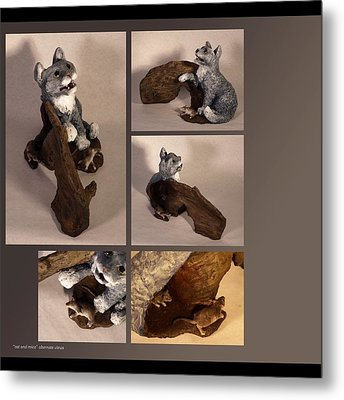 Cat And Mice Alternate Views Metal Print by Katherine Huck Fernie Howard