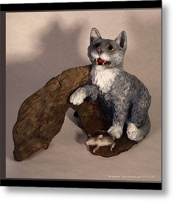 Cat And Mice Main View Metal Print by Katherine Huck Fernie Howard