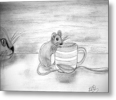 Cat And Mouse Metal Print by Laura DAddona