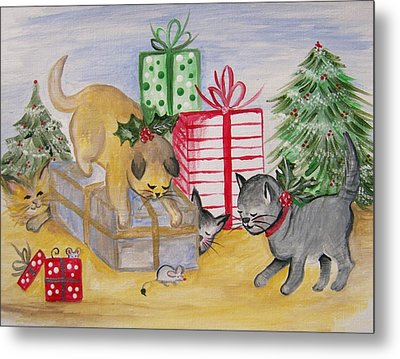 Cat And Mouse Metal Print by Leslie Manley