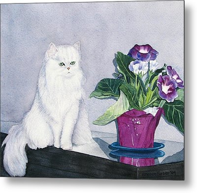 Cat And Potted Plant Metal Print by Sharon Farber