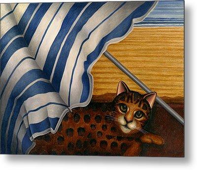 Cat At Beach Metal Print by Carol Wilson