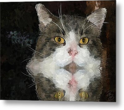 Cat At The Table Metal Print