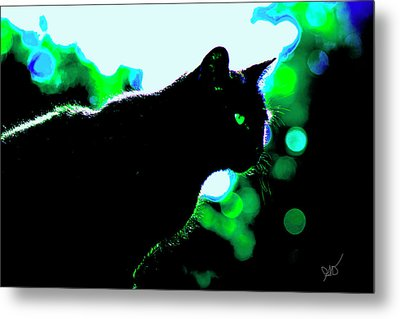 Cat Bathed In Green Light Metal Print by Gina O'Brien