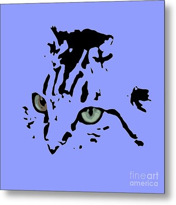 Cat Black Abstract Art Purple Background Metal Print by Pablo Franchi