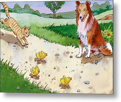 Cat Chasing Chicks Metal Print by Valer Ian