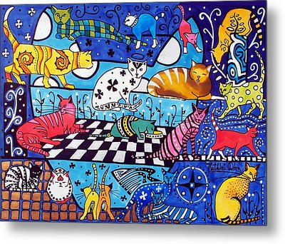 Cat Cocktail - Cat Art By Dora Hathazi Mendes Metal Print by Dora Hathazi Mendes