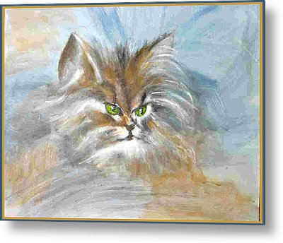 Metal Print featuring the painting cat by Dragica  Micki Fortuna