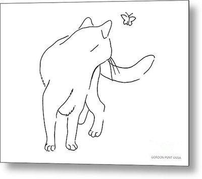 Cat-drawings-black-white-2 Metal Print