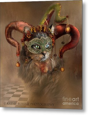 Cat In A Hat Metal Print
