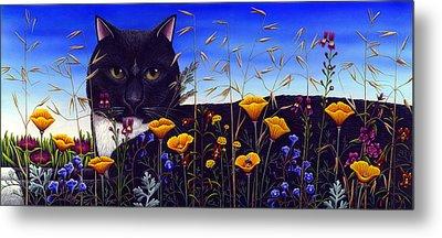 Cat In Flower Field Metal Print by Carol Wilson