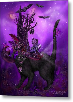 Cat In Goth Witch Hat Metal Print by Carol Cavalaris
