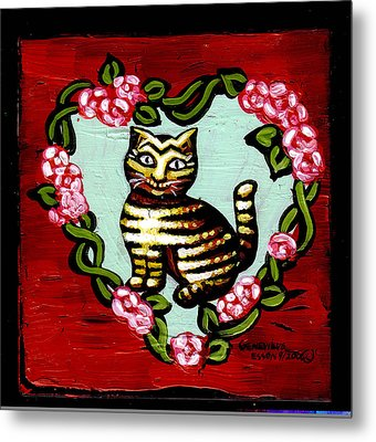 Cat In Heart Wreath 2 Metal Print by Genevieve Esson