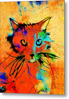 Cat In Red And Yellow Metal Print by Ann Powell