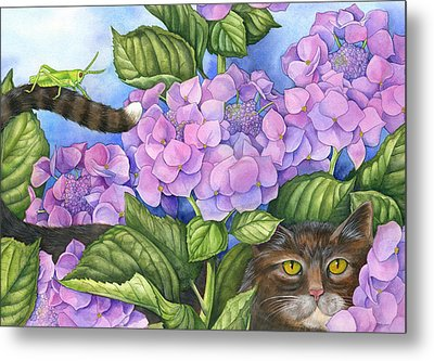 Cat In The Garden Metal Print by Mindy Lighthipe