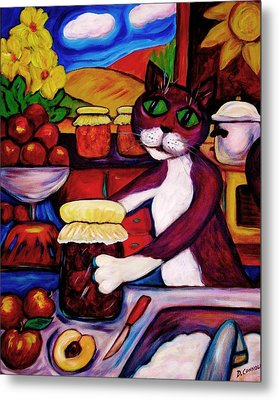 Metal Print featuring the painting Cat In The Kitchen Bottling Fruit by Dianne  Connolly