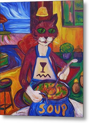Cat In The Kitchen Making Soup Metal Print by Dianne  Connolly