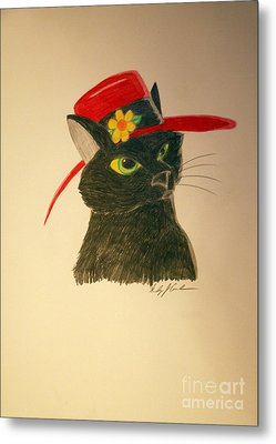 Cat In The Red Hat Metal Print by Wendy Coulson