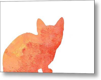Watercolor Orange Cat Silhouette Metal Print