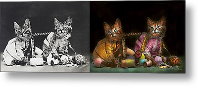Cat - Mischief Makers 1915 - Side By Side Metal Print by Mike Savad