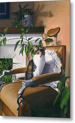 Cat Sitting In Barber Chair Metal Print