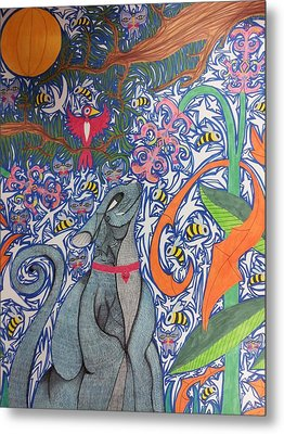 Cat Smelling A Flower 3 Metal Print by William Douglas