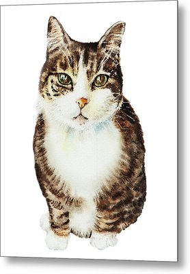 Metal Print featuring the painting Cat Watercolor Illustration by Irina Sztukowski