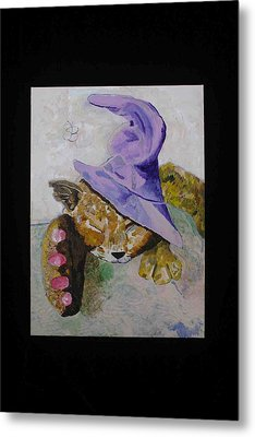 Cat With A Magician's Hat Metal Print