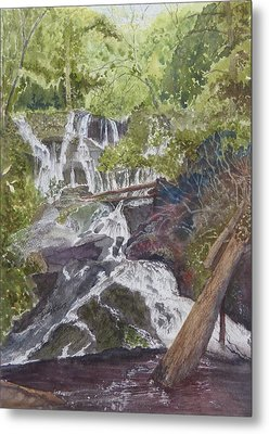 Metal Print featuring the painting Catawba Falls - Working Notes by Joel Deutsch