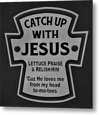 Metal Print featuring the photograph Catch Up With Jesus B W by Rob Hans