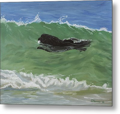 Metal Print featuring the painting Catching A Wave by Sharon Nummer