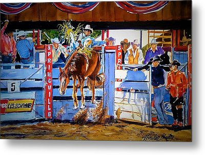 Catching Air At Springville Rodeo Metal Print by Therese Fowler-Bailey