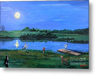 Catching Fireflies By Moonlight Metal Print by Stella Sherman