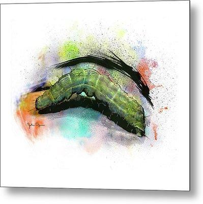 Caterpillar Drawing Metal Print