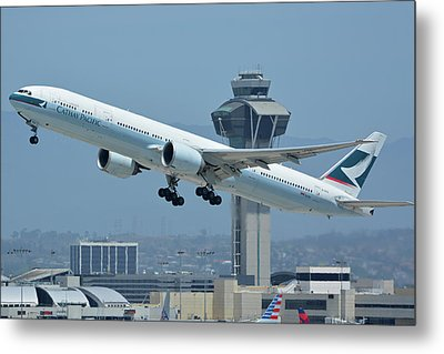 Metal Print featuring the photograph Cathay Pacific Boeing 777-367er B-kph Los Angeles International Airport May 3 2016 by Brian Lockett