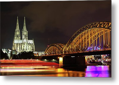 Cathedral, Bridge And Boat In Cologne Metal Print by Holger Ostwald
