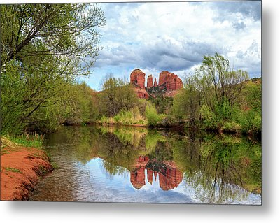 Cathedral Rock Reflection Metal Print by James Eddy