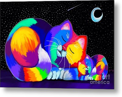 Metal Print featuring the drawing Catnaps For Two by Nick Gustafson
