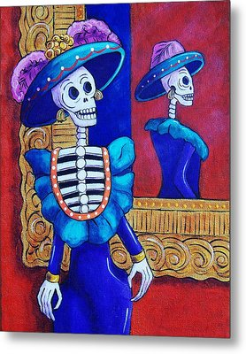 Catrina In The Mirror Metal Print by Candy Mayer