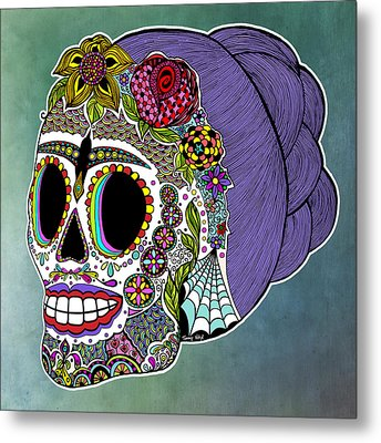 Metal Print featuring the drawing Catrina Sugar Skull by Tammy Wetzel