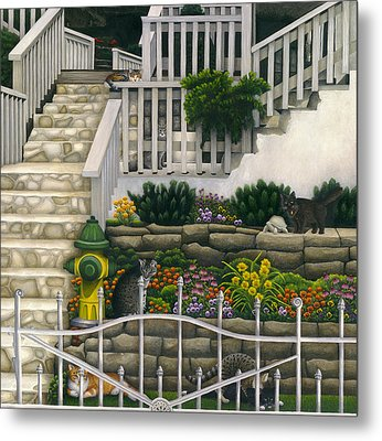 Cats Among Stairs And Garden  Metal Print by Carol Wilson
