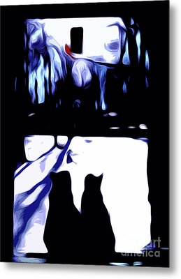 Cats And Cardinal Metal Print