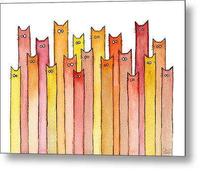 Cats Autumn Colors Metal Print