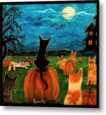 Cats In Pumpkin Patch Metal Print by Paintings by Gretzky