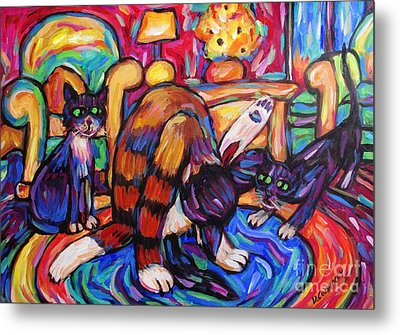Metal Print featuring the painting Cats In The Lounge by Dianne  Connolly